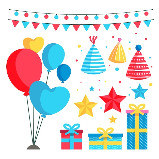 Colorful birthday decoration Free Vector