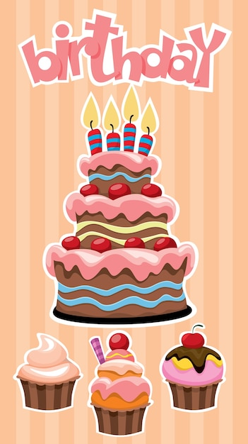 Colorful birthday desserts banner template with festive cake and cupcakes stickers on striped Free Vector