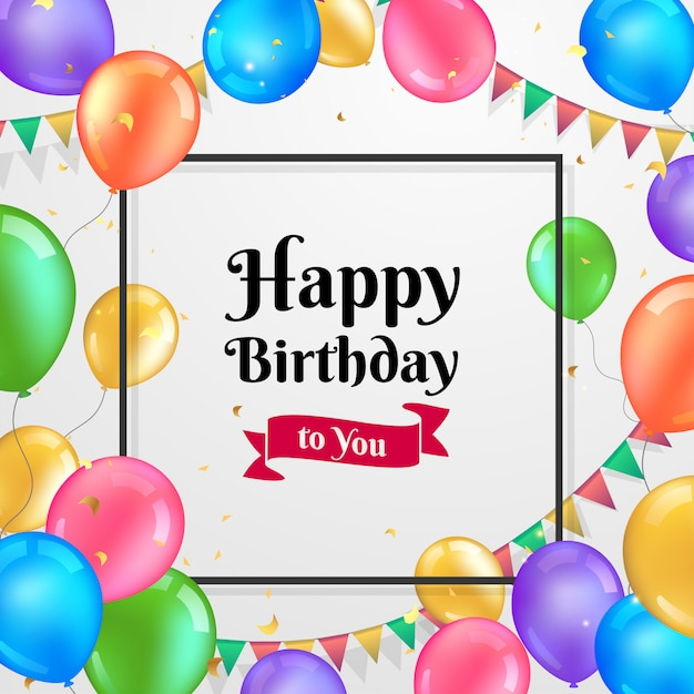 Colorful Birthday Greeting Card Vector