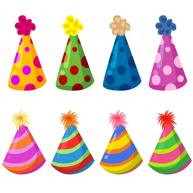 Colorful birthday hat party element set Premium Vector
