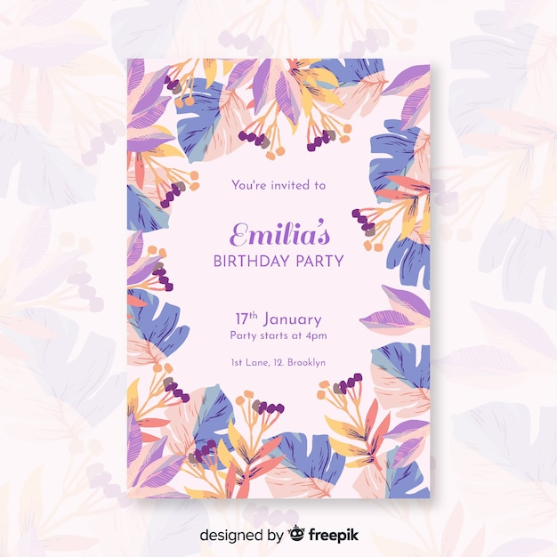Colorful birthday invitation with flowers Free Vector