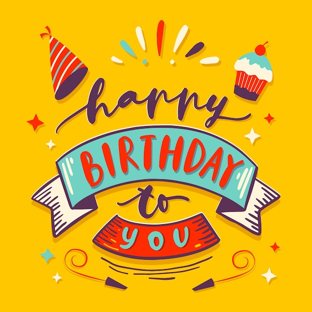 Colorful birthday lettering Free Vector