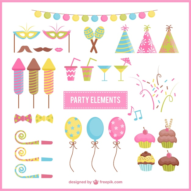 Colorful birthday party elements