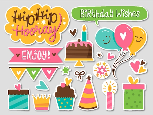 다채로운 생일 스크랩북 팩 무료 벡터