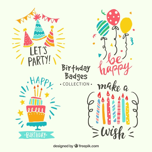 Colorful birthday stickers pack in retro style Free Vector