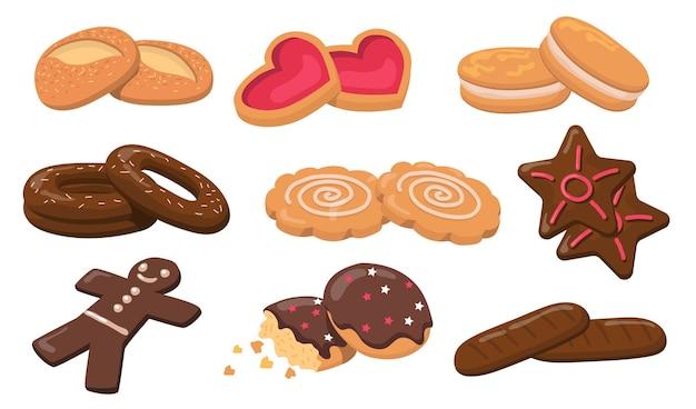 Набор красочных печенья и плоских элементов печенья. мультяшный свежий круглый сладкий вкусный печенье для десерта, изолированных векторная иллюстрация коллекции. кондитерские изделия и кондитерские изделия концепция Бесплатные векторы