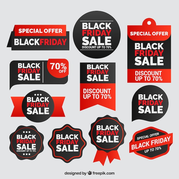 Colorful black friday labels