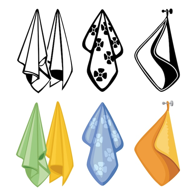 Colorful and black towels collection. textile towels icons for kitchen, spa Premium Vector
