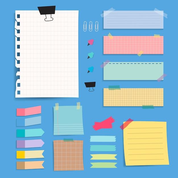 Insieme variopinto di vettore delle note della carta in bianco Vettore gratuito