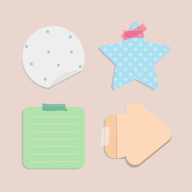 Colorful blank reminder notes vector set Free Vector