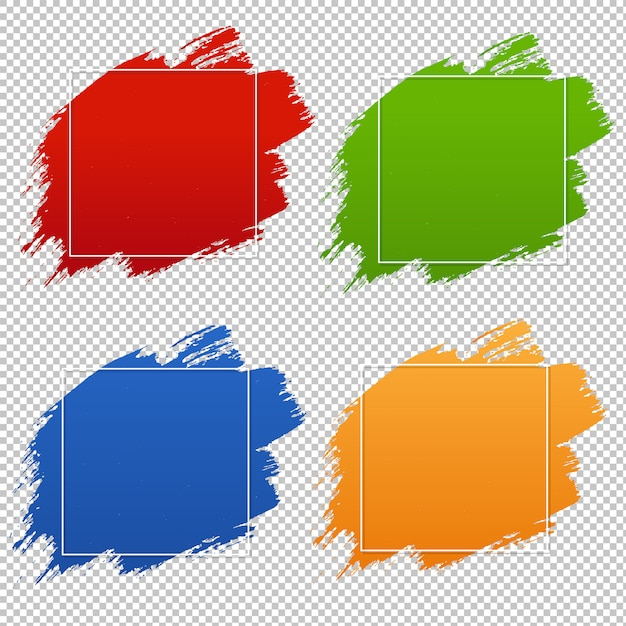 Colorful blobs banner set transparent background Premium Vector