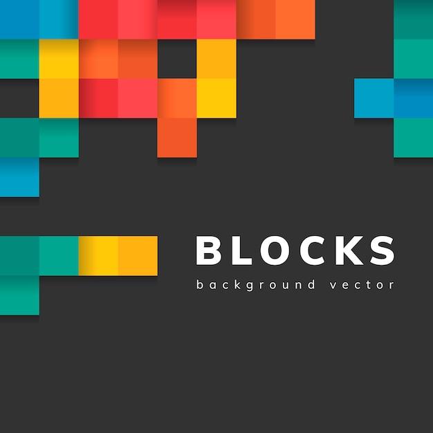 空白の黒の背景ベクトルにカラフルなブロック 無料ベクター