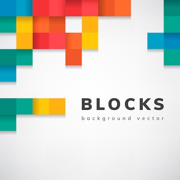 空白の白い背景ベクトルにカラフルなブロック 無料ベクター