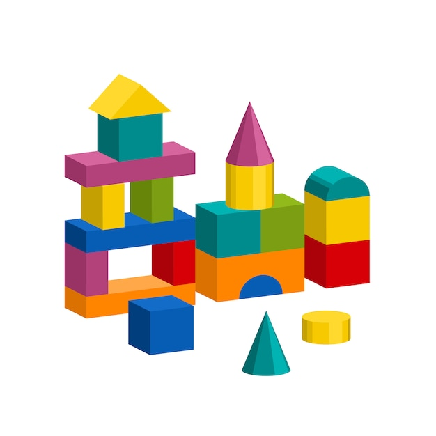 Colorful blocks toy building tower, castle, house Premium Vector
