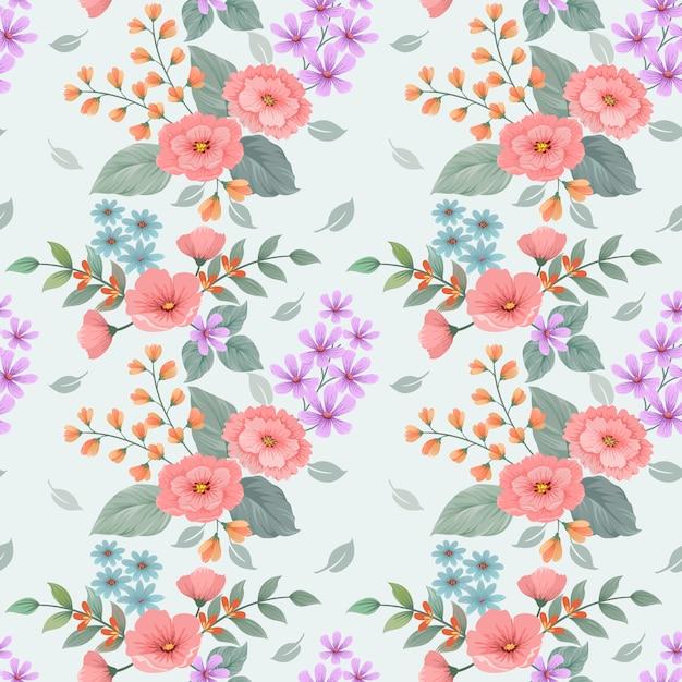 色とりどりの花の花ベクターデザインのシームレスパターン。 Premiumベクター
