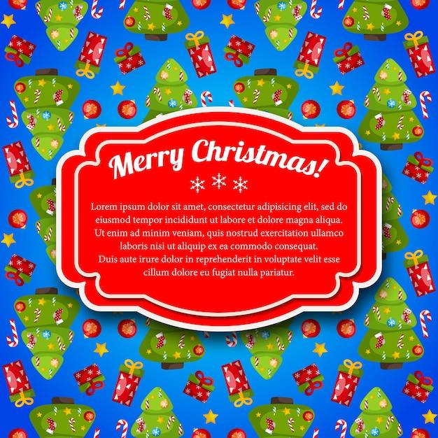 赤いテキストフィールドとカラフルな青いメリークリスマスポストカード 無料ベクター