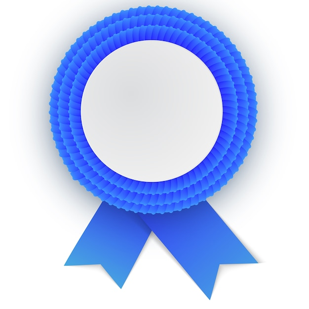 Colorful  blue rosette with empty paper Premium Vector