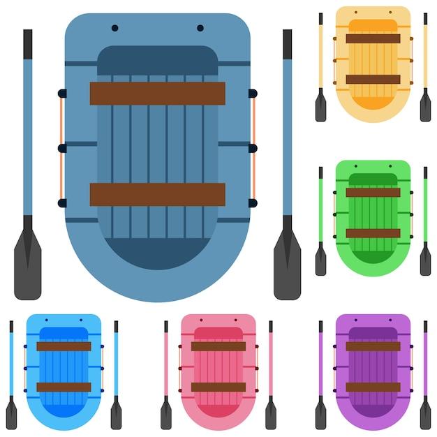 Красочный сплав рафтинг гонка элемент значок игровой актив Premium векторы