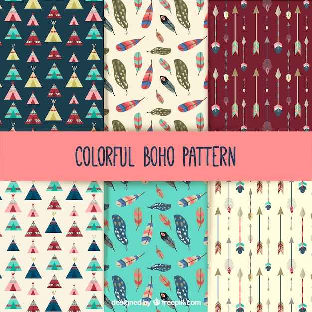 Colorful boho patterns collection Free Vector