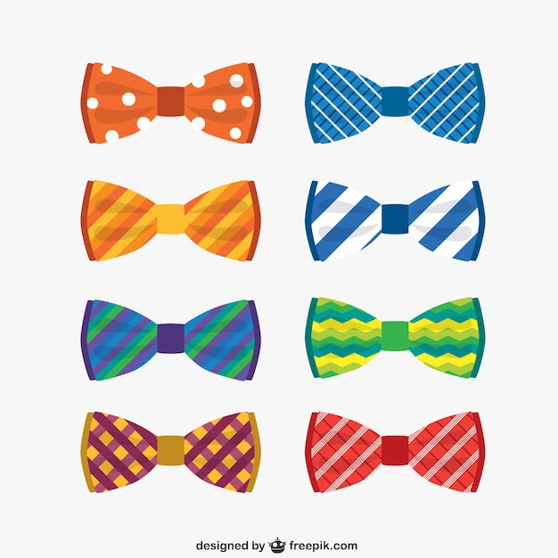 Colorful bow ties collection Free Vector