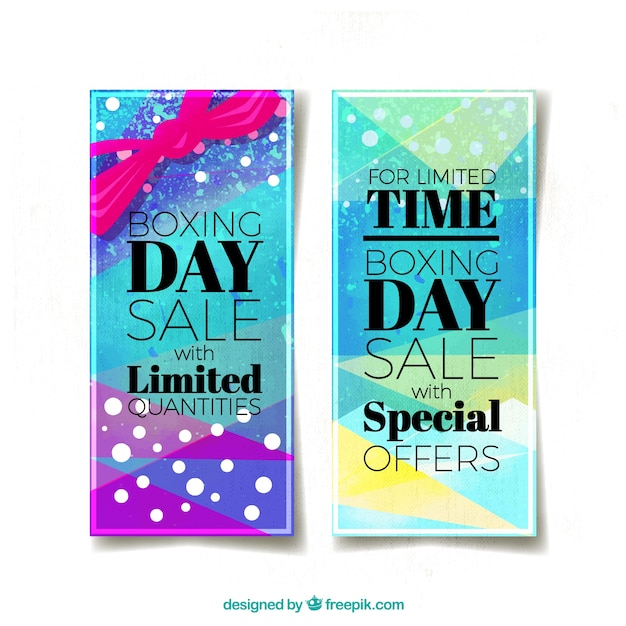 Colorful boxing day banners in watercolor\ style