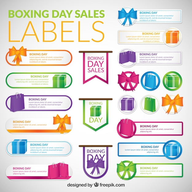 Colorful boxing day labels