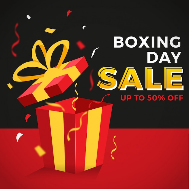 Colorful boxing day sale banner Premium Vector