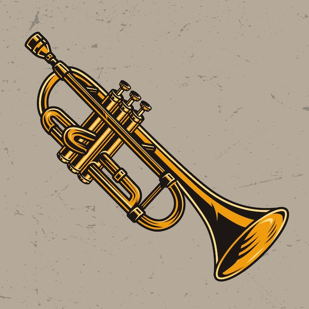 Colorful brass trumpet concept Free Vector