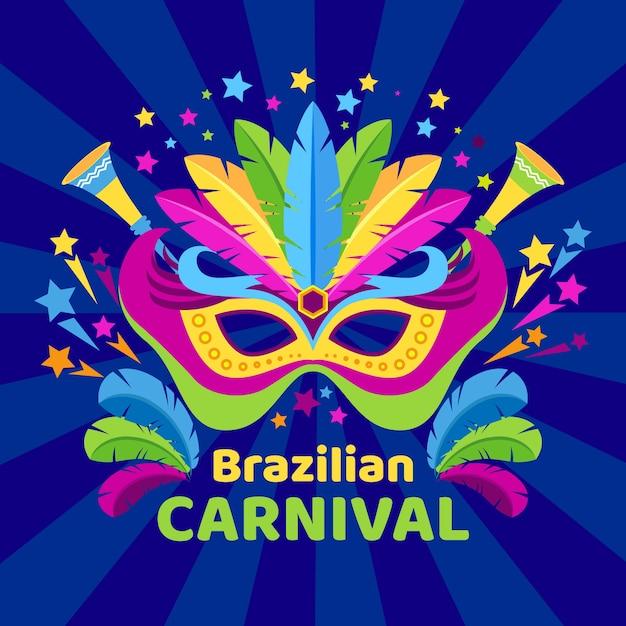 Colorful brazilian carnival background Free Vector