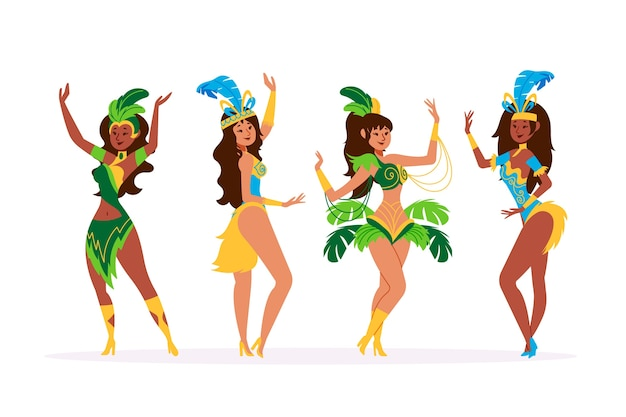 Colorful brazilian carnival dancer collection Free Vector
