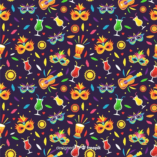 Colorful brazilian carnival pattern Free Vector