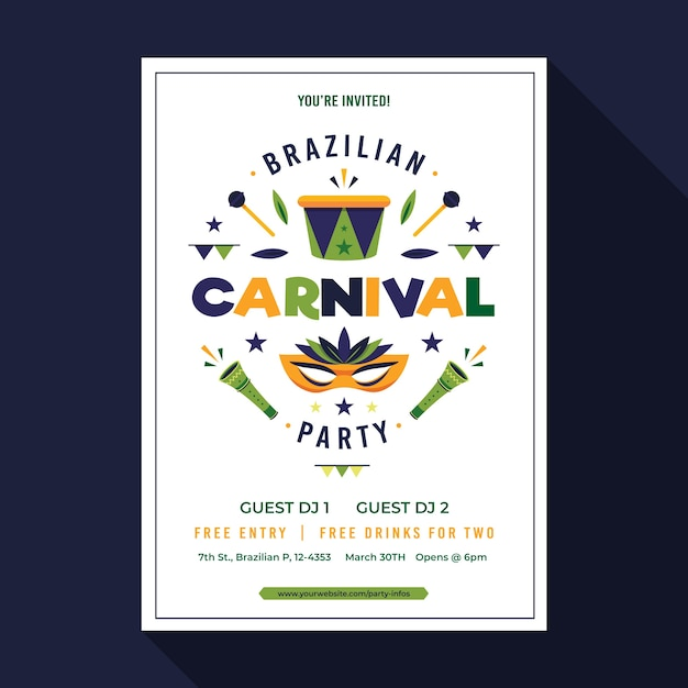Colorful brazilian carnival poster template Free Vector