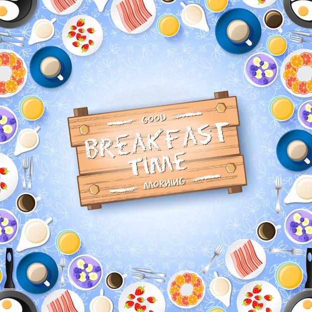 Concetto di colazione colorata con gustosi dessert frutti di bosco frittata e bevande calde sulla luce illustrazione Vettore gratuito