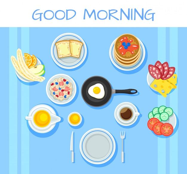 カラフルな朝食テーブルのコンセプト 無料ベクター