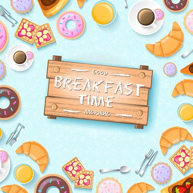 コーヒーキッチンツールクッキーとクロワッサンのイラストのドーナツカップとカラフルな朝食テンプレート Premiumベクター