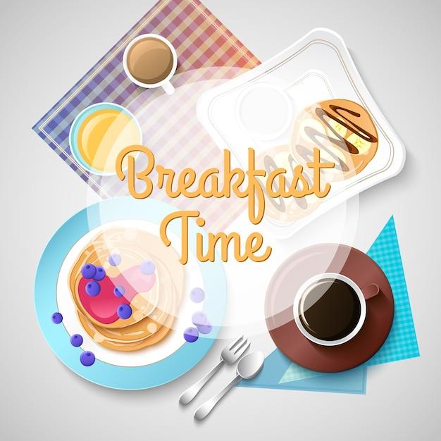 Modello di colazione colorato con dolci tradizionali pasti gustosi e bevande calde su illustrazione leggera Vettore gratuito