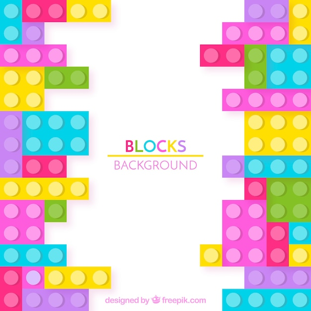Colorful bricks background in flat design Free Vector