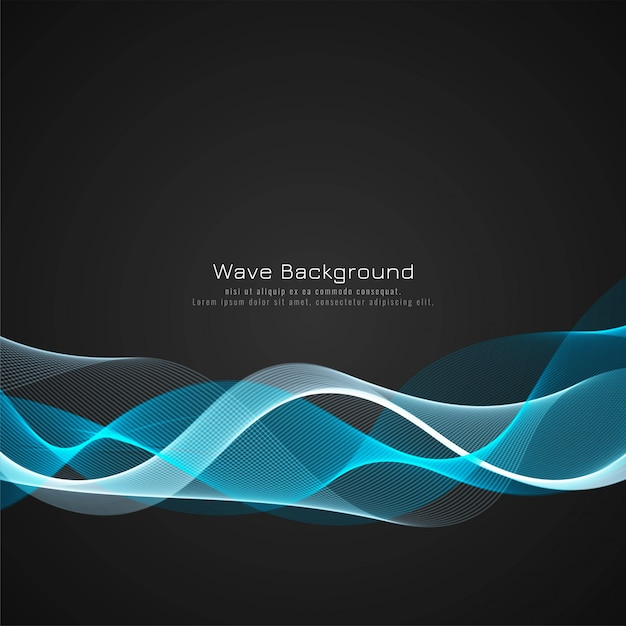 Colorful bright wave dark background Free Vector
