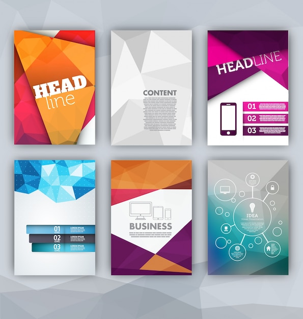 colorful brochure templates vector free download