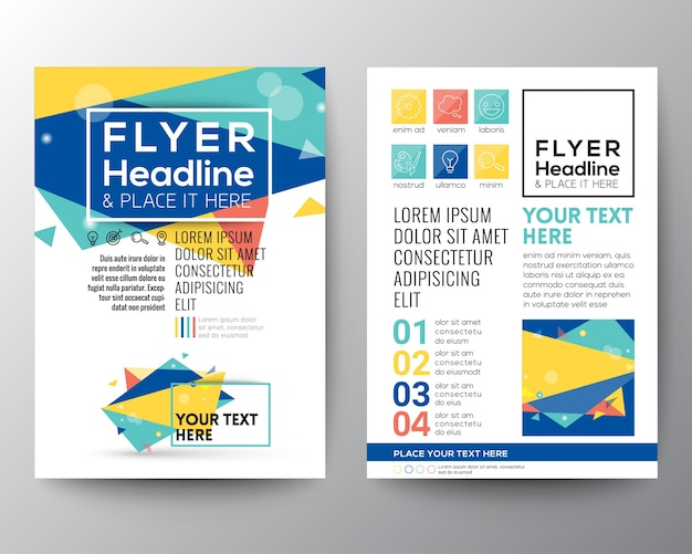 colorful brochure with polygonal shapes vector free download