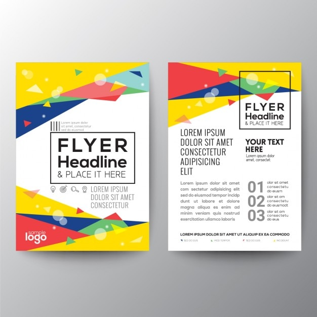Colorful Brochure With Triangular Shapes  Free Blank Flyer Templates