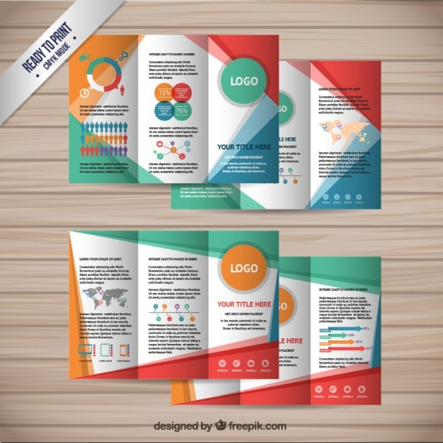 Colorful brochures collection Free Vector