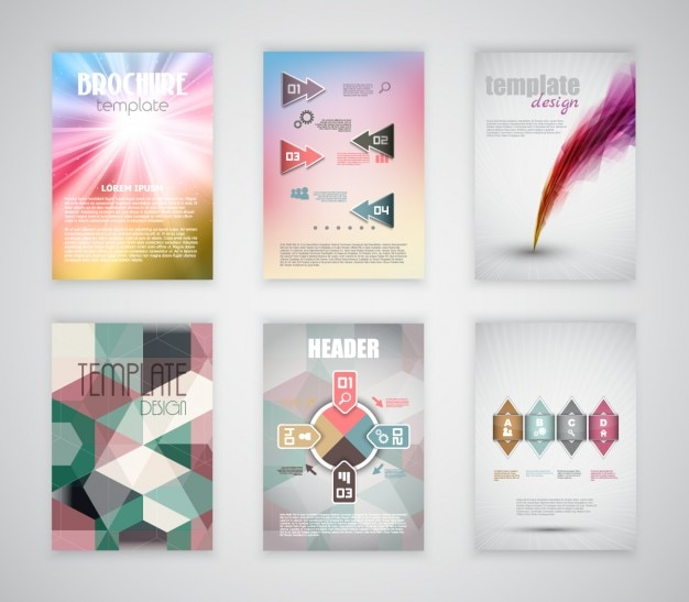 Colorful brochures templates of business vector free for Colorful brochure templates