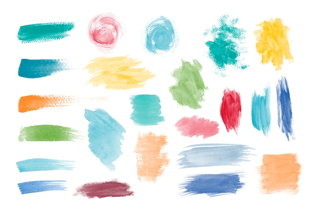 Colorful brushstroke design vector set Free Vector