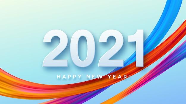 Красочный мазок краски надписи каллиграфии с новым годом фона. Premium векторы