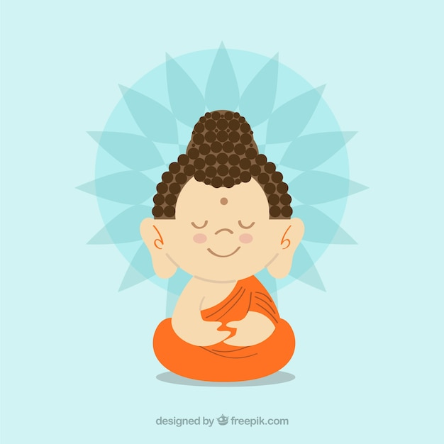 Colorful budha with flat design Free Vector