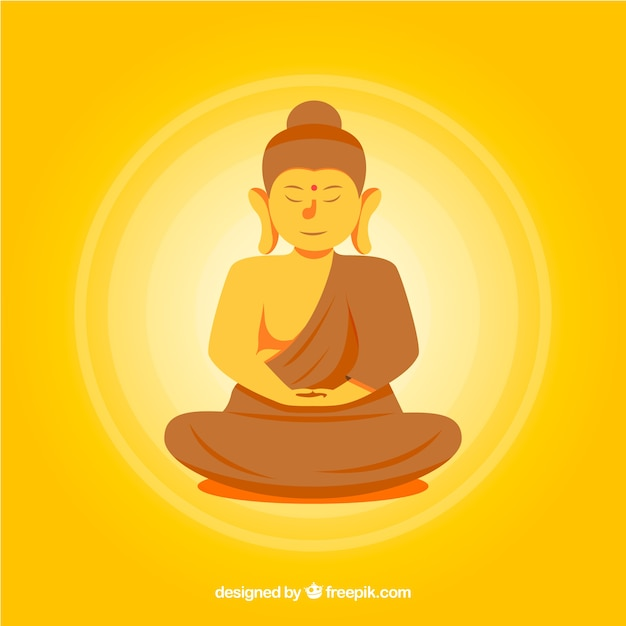 Colorful budha with flat design