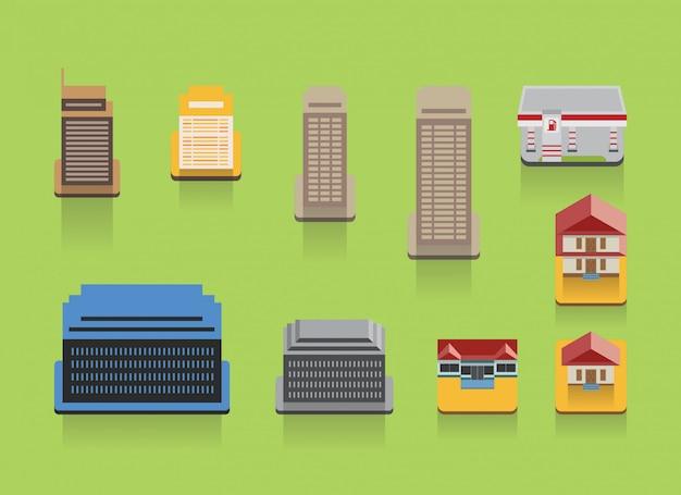 Набор красочных строительных плоских иконок Premium векторы