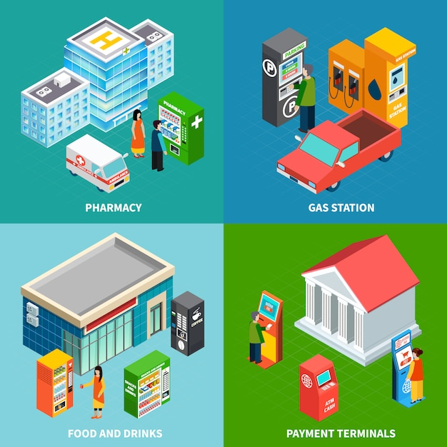 Colorful building isometric set with payment terminals and vending machines selling food drinks and pharmaceuticals 3d isometric vector illustration Free Vector