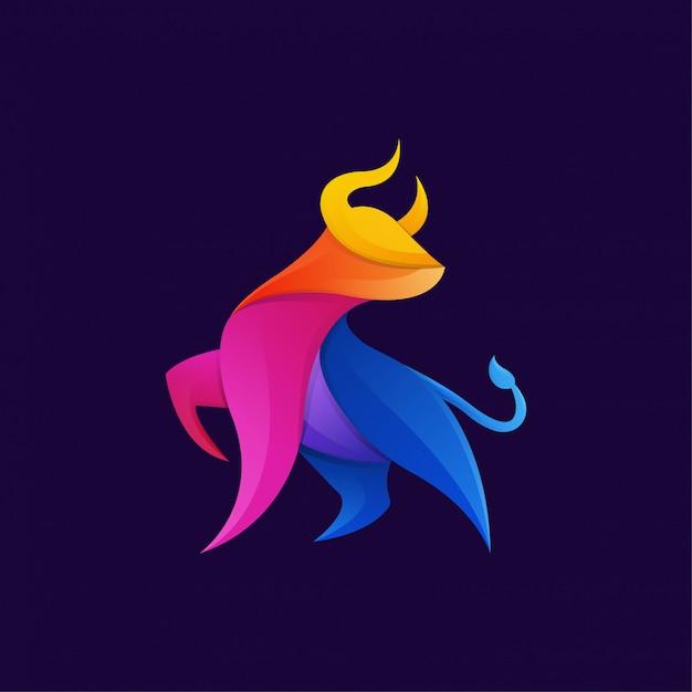 Colorful bull gradient artwork logo template Premium Vector